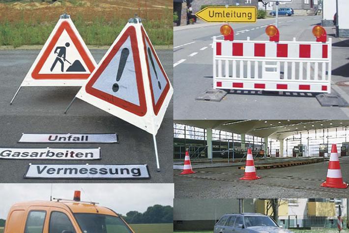 Baustellensicherheit, Verkehrsregelungen, Warnmarkierungen
